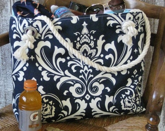Navy Beach Bag/Monogram Tote/Large Tote/Navy Tote/Gift For Her/Overnight Bag/Women's Gift/Vacation!