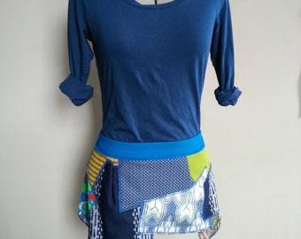 Mini patch skirt Blue and green Ragdoll scrap skirt