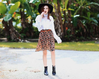 Vintage 80s Autumn Skirt Orange Floral Pleated High Waisted Skirt