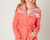 Coral wool jacket, knitted collar, uruguayan wool coat, Valentine's gifts by Texturable  - Size SMALL