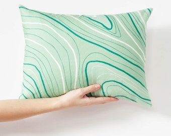 Marbled Pillow Cover - Green Throw Pillow - Small Decorative Pillow - 12x16 Sofa Pillow - Modern Pillow - Housewarming Gift - Gift for Wife