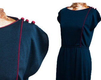 70s Sapphire Blue Disco Dress by O'BRYAN, Vintage 70s Navy Shift with Burgundy piping, Red Trim, Roller Girl, Boogie Nights, Dazed Confused