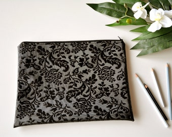Damask clutch bag, black leather bag, black clutch, black vegan leather clutch, black purse, black bag, bridesmaid clutch, faux leather bag