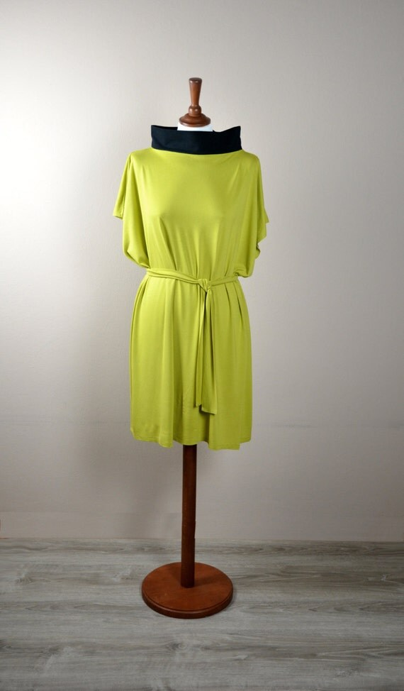 Tunic dress, tshirt dress, yellow dress, short sleeve dress, womens clothing, jumper dress, modern dress