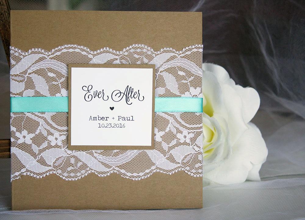 Teal Invitations Wedding: Rustic Kraft & Teal Lace Wedding Invitations Rustic Wedding