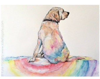 Matted Fine Art Print - Rainbow Dog - Fine Art Print from Original Painting by Kylie Fogarty