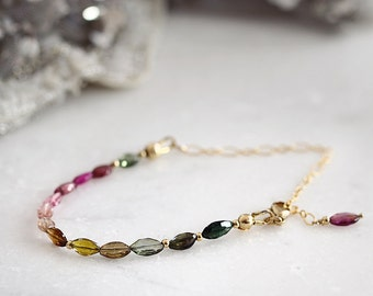 Tourmaline Bracelet - October Birthstone Bracelet - Tourmaline Jewelry - Multi Colour Bracelet - Gemstone Beaded Bracelet - Dainty Bracelet
