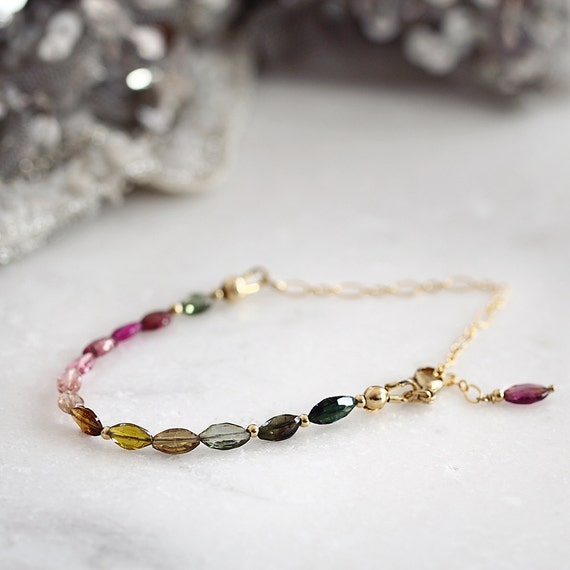 Tourmaline Bracelet - October Birthstone Bracelet - Tourmaline Jewelry - Multi Colour Bracelet - Gemstone Beaded Bracelet - Dainty Bracelet