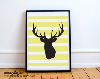 Hunting Nursery Decor, Buck Nursery, Striped Nursery Decor, Boy Nursery Print