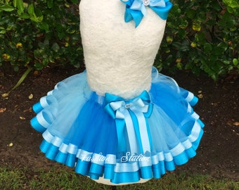 Turquoise and Sky Blue Mixed Satin Ribbon Trimmed TuTu ~~~With Free Hair Bow  ~~27 Solid Colors available~~~