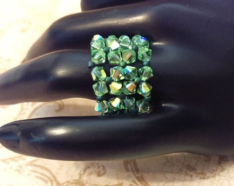 The Peggy- Peridot AB Swarovski Crystal and Lacey Green Mirage Seed Bead Stretchy Fashion Right Angle Weave Ring