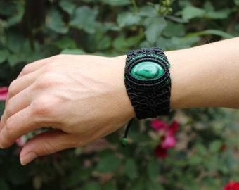 Macrame Congo Malachite Bracelet with Semi Precious Gem/ OOAK/ Small Cuff
