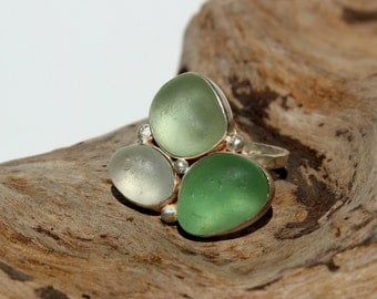 Hawaiian Kauai Aqua & Clear Beach Glass Set in 925 Sterling Silver Handcrafted Ring - Size 7