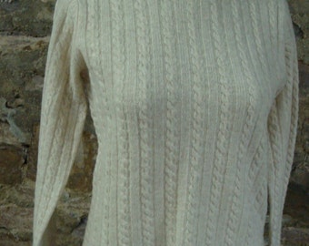 90's J CREW lambswool cable knit crew neck pullover sweater ivory S