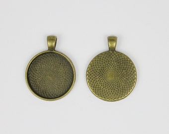 SOJ-049: Set of 20 - 1 inch / 25mm Round Antique Brass Pendant Trays - DIY, pendant kit, 25 mm, necklace supplies, 1 inch, bezel, finding