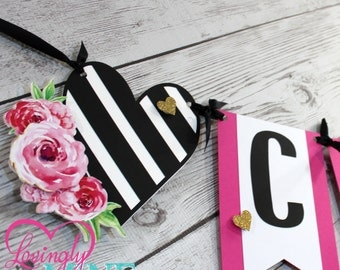 Banners in Hot Pink, Black & White Stripes and Glitter Gold - Additional Banner Options Avail - Bridal Shower, Birthday, Baby Shower
