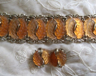 Mid Century Lucite Bracelet Set 1950s Frosted Peach Lucite Leaves Wide Earrings Clip On Fall Colors Vintage Costume Jewelry MoonlightMartini