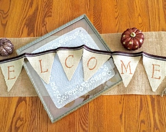 Welcome Garland Burlap Banner Rustic  Welcome Garland Wall Hanging Home Decor