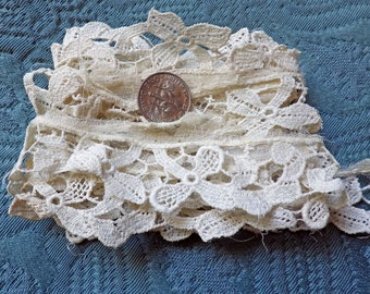 LAST Rare Antique Lace French Cotton Schiffli Tiny Flowers Chemical Trim Vintage 20s Unusual Art Deco Airy Floral Collect Study Sewing