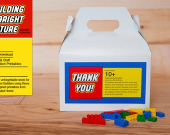 INSTANT Gable Box Labels - LEGO Inspired Teacher and Staff Appreciation Printables