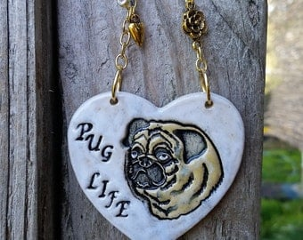 Pug Life - White Ceramic Ornament