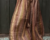 Size M/L Sari Pantaloons- 4 Yard Vintage Silk Brown Gold and Peach Tribal Print Bellydance Harems