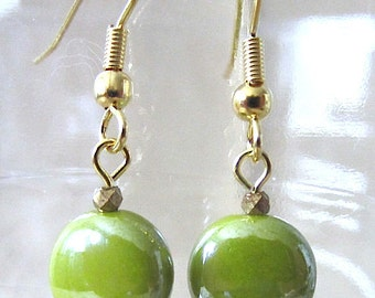 Lime Green Glazed Ceramic Puffed Disc Dangle Pierced Earrings, Handmade Original Fashion Jewelry, Bright Simple Classic Small Cute Gift Idea