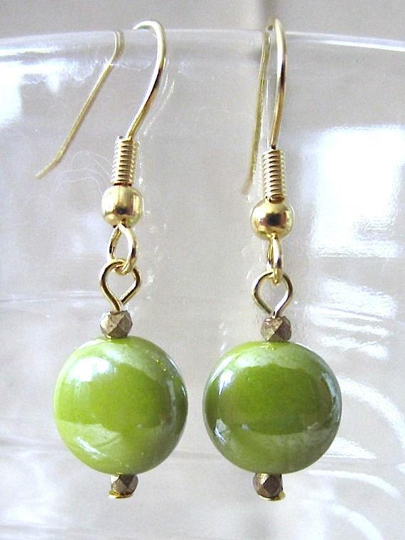 Lime Green Glazed Ceramic Puffed Disc Dangle Pierced Earrings, Handmade Original Fashion Jewelry, Bright Simple Classic Small Cute Gift Idea
