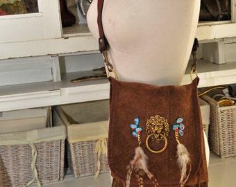 Handmade Suede Lion Head Crossbody Bag