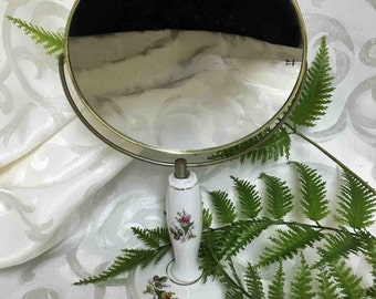 Vintage Vanity Mirror with Magnification / 2 Sided Pedestal Mirror