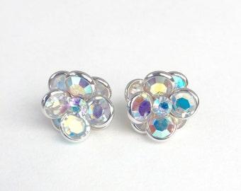 Vintage AB Crystal Flower Earrings Bezel Set Crystals