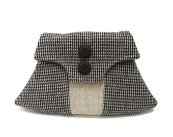 1940's Vintage Inspired Clutch Bag Vintage Brown Cream Dogtooth Check Wool Tweed and Oatmeal Harris Tweed Purse
