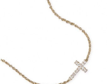 16 inch 14 Karat Gold Plated Sterling Silver Necklace with Sideways CZ Cross Pendant