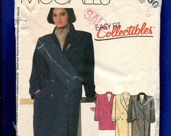 1980's McCall's 2180 Loose Fitting Double Breasted Coat Size 12
