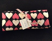 CLEARANCE: Hearts Flannel Burp Cloths, Set of Two, Ready to Ship, Valentine's Day, Baby Girl