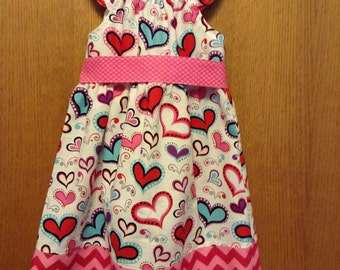 SALE: Hearts Valentine's Day Peasant Dress with Flutter Sleeves and Sash, Size 5T, Ready to Ship