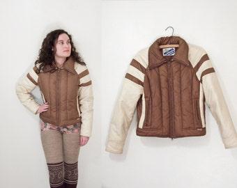1970s BECONTA Ski Jacket Brown + Cream Winter Nylon Down Size Small
