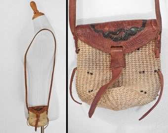 Leather + Jute Purse 1970s Mini Crossbody Bag Tooled Beaded