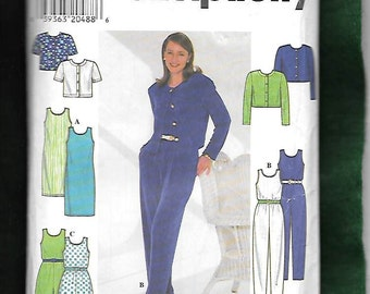 Simplicity  7711 Misses'  Jumpsuit Or Jumpshorts, Cropped Jacket Or Top, and Sleeveless Sheath Dress, Sizes, 12 , 14, 16, UNCUT