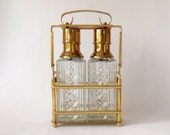 Vintage Crystal Pump Decanters in Holder, with Liquor Tags