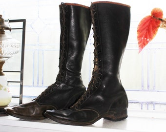 Vintage 1930s Womens Steampunk Boots Knee High Black Leather Chippewa Shoe Mfg Co