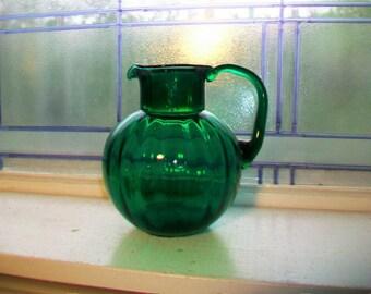 Emerald Green Ribbed Lemonade Pitcher Vintage Glass