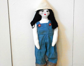 Handmade Doll with Handmade Vintage Clothes and Leather Shoes; Oriental Doll Home Decor; Childrens Doll