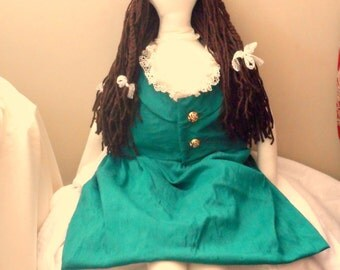 Handmade Art Doll OOAK Fabric Doll with Dress and Braids in Hair