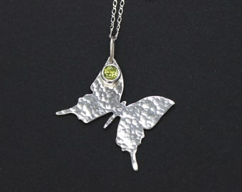 Butterfly Pendant Sterling Silver Butterfly Necklace Cat Lover Gift Peridot Necklace Simple Everyday Necklace Animal Necklace Green stone