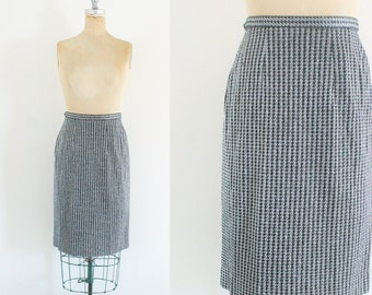 Vintage 1960s Silver Pencil Skirt Silver Skirt Metallic Skirt Houndstooth Skirt Gray Pencil Skirt Mad Men Skirt Medium Size 1