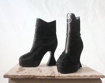 Vintage Zip Front Black Suede Platform Boots