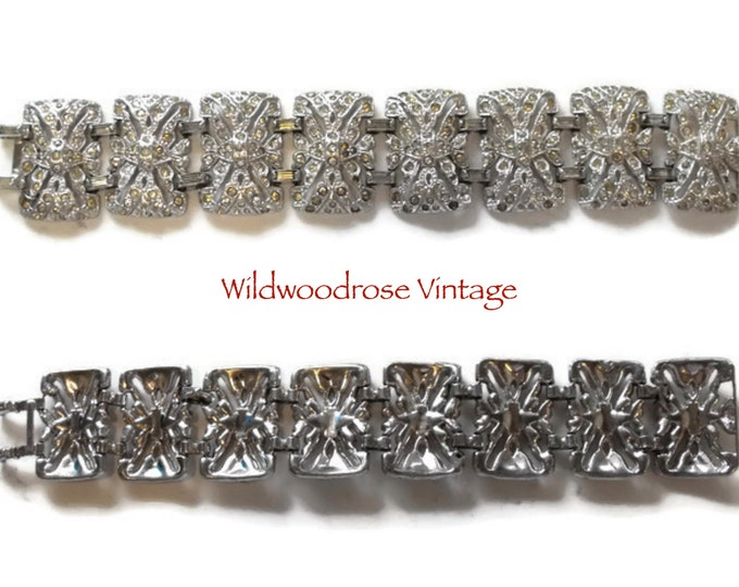 Vintage 1930's Art Deco Rhinestone Panel Bracelet - 30's Costume Jewelry - Classic Art Deco Line Bracelet with Rectangular Panels