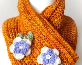 Crochet Cowl, Scarf Pattern, Country Style, Knit Flower, Winter Neck Warmer