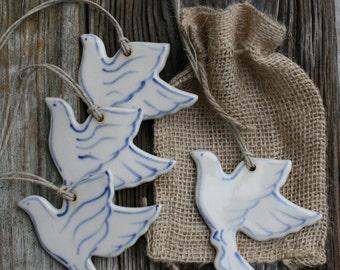 porcelain dove ornament, dove of peace, home decor , hostess gift, party favor, wedding favor, gift, white dove, peace symbol, housewarming